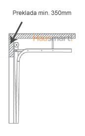 Preklada min. 350mm - Načini namestitve garažnih vrat - Skupni elementi
